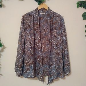 SoftSurroundings Printed Open Front Rayon Cardigan